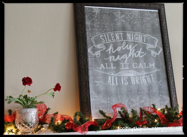 Christmas mantel with chalkboard print