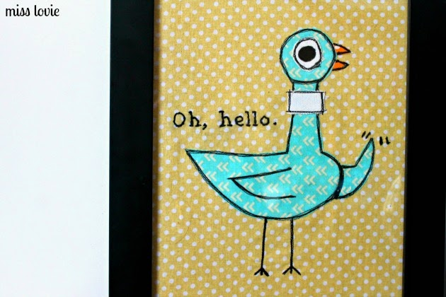 Adorable Pigeon Fabric Wall Art -