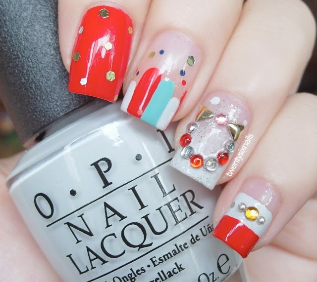 Unhas decoradas, nail art, Natal