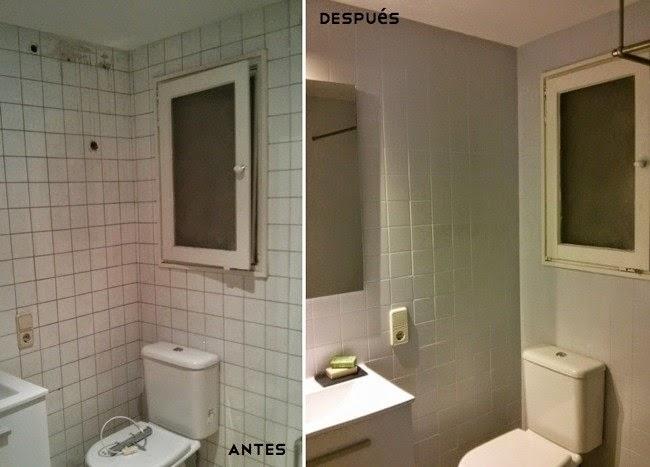 Antes y despues de un baño tueando con pintura de azulejos