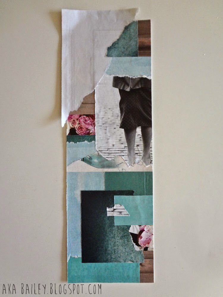 DIY artwork, teal, white, pink collage