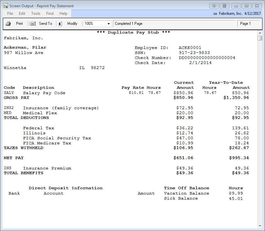 Direct deposit check stub template