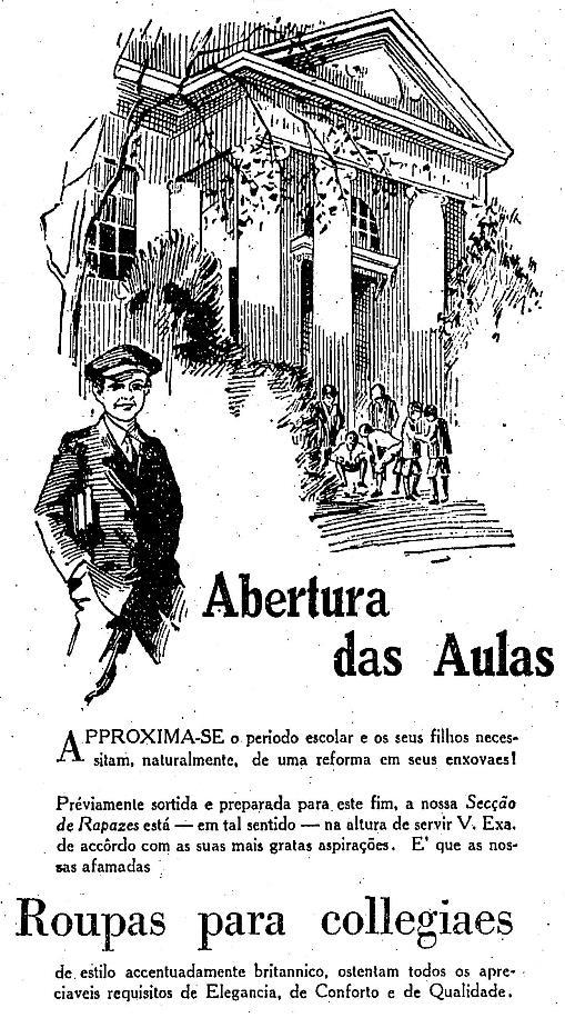 Propaganda da loja de departamentos Mappin apresentando a linha de uniformes para a volta às aulas em 1930.