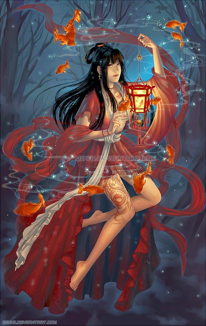 illustration de Qing Han d'une femme en kimonon rouge tenant une lanterne