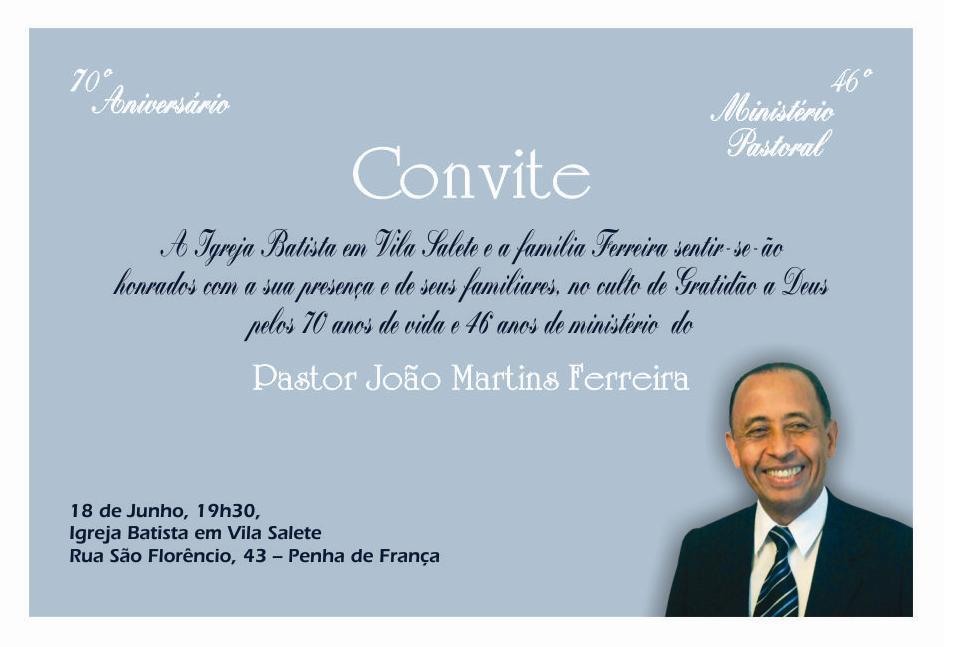 Primeira Igreja Batista Em Vila Sílvia 46º Aniversário De