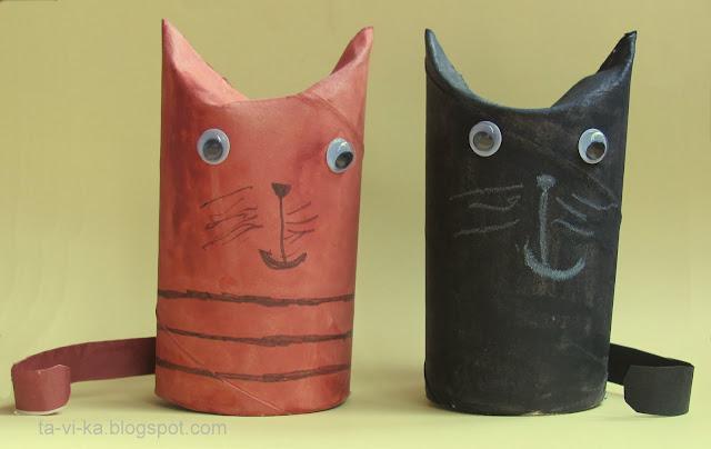 поделки из рулончиков от туалетной бумаги коты