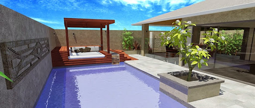 Resort style backyard design for Landscaping ideas for pool areas