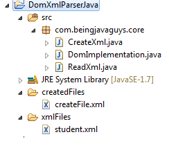 Dom Xml Parser Read And Create Xml File In Java Using Dom