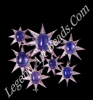 The Pleiades brooch that Verdura first sketched in 1940. The jewel consisted of seven cabochon sapphires weighing 54 carats and diamonds, 1945.