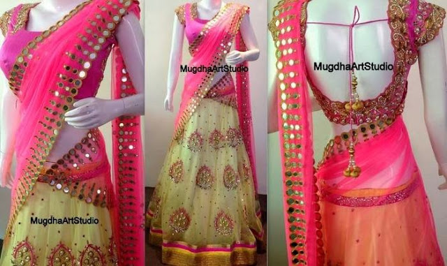 Mirror Work Half Saree by Mugdhaarts