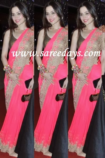 Latest saree designs sanjeeda sheikh in peach designer netted saree checkout actress sanjeeda sheikh in peach designer netted saree with gold lacework border with lazer cut edges and paired with gold silk sleeveless blouse altavistaventures Image collections