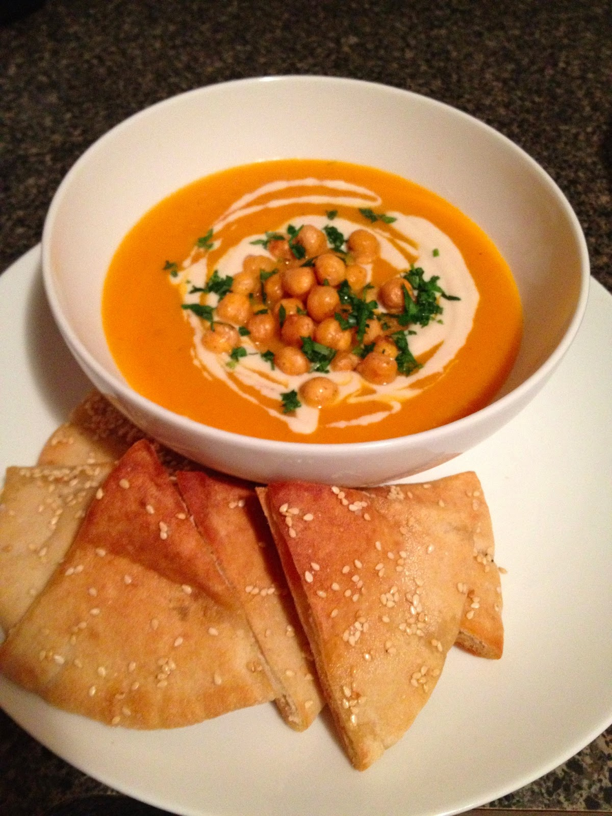 Carrot Soup with Tahini and Crisped Chickpeas | Chop to Change