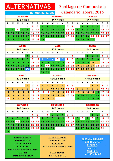 Santiago. Calendario laboral 2016