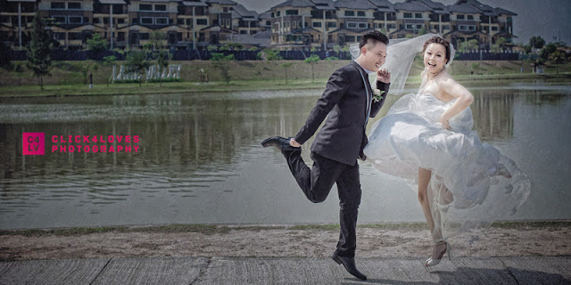 jumping in wedding gown suit