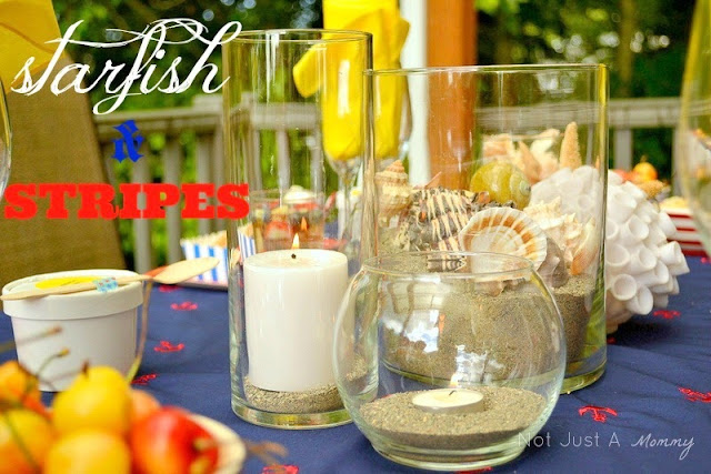 Starfish And Stripes: Nautical 4th Of July Tablescape glass centerpieces