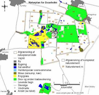 Oversigtskort med naturelementer fra Svanholms Naturplan i 2005. Det aktuelle projektområde er  placeret syd for Julianehøj Skov omkring naturelement nr. 11 og 32.
