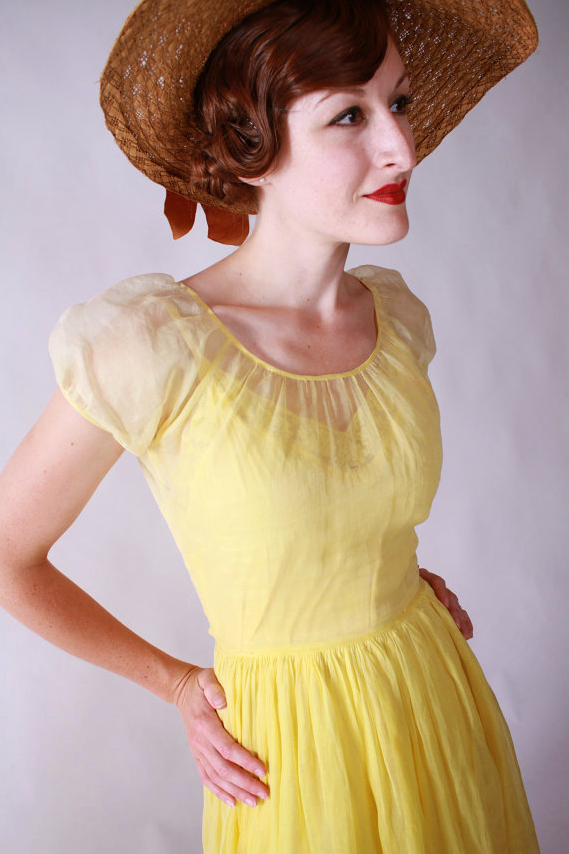 1930s Yellow Organza Dress