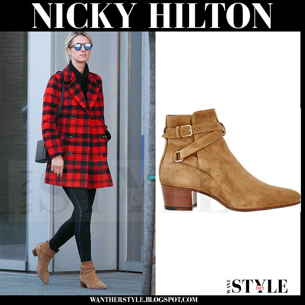 Nicky Hilton in red tartan coat and brown suede saint laurent blake jodhpur ankle boots what she wore streetstyle