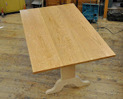and back in the woodshop, will wrapped up this cherry trestle table Thursday .