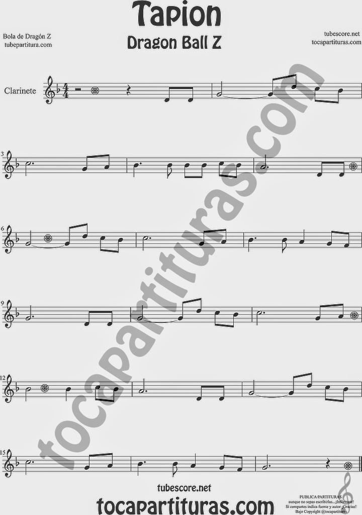 Tapión Bola de Dragón Z Partitura de Clarinete Sheet Music for Clarinet Music Score Dragon Ball Z