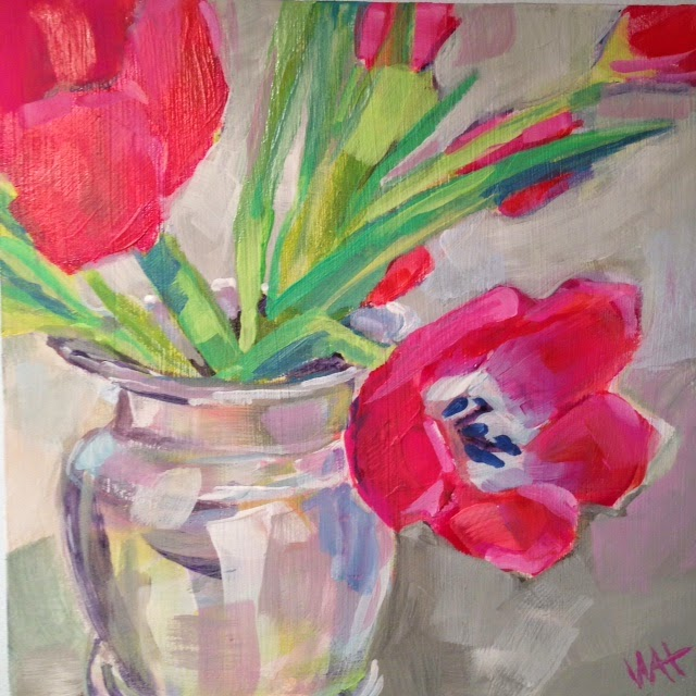 Red Tulips painting by Whitney Heavey, Cape Cod artist