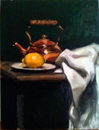 Oil painting of a lemon on a white plate, a copper kettle on a table, with a draped cloth beside.