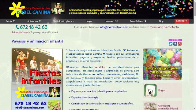 Remodelación del sitio web de Animación y Espectáculos Isabel Camiña