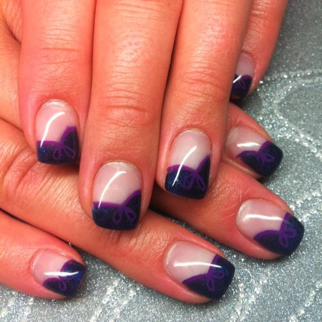 gel nails with LED polish design in 'deepest moonbeam' and purple acrylic paint nail art with ribbon and bow