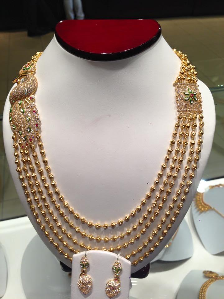 Jewellery Designs : #@ Gold Balls Long Bridal Necklace Set