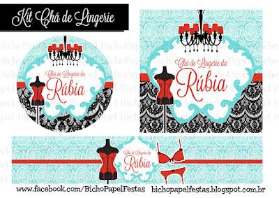 kit chá de lingerie azul tiffany vermelho e preto