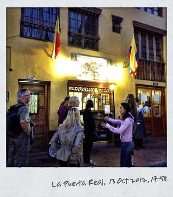 Outside La Puerta Real restaurant in Bogota