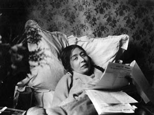 Sylvia continues to work while recovering from a hunger strike in 1913 in the home she shared with Mr and Mrs Payne in the East End's Old Ford Road