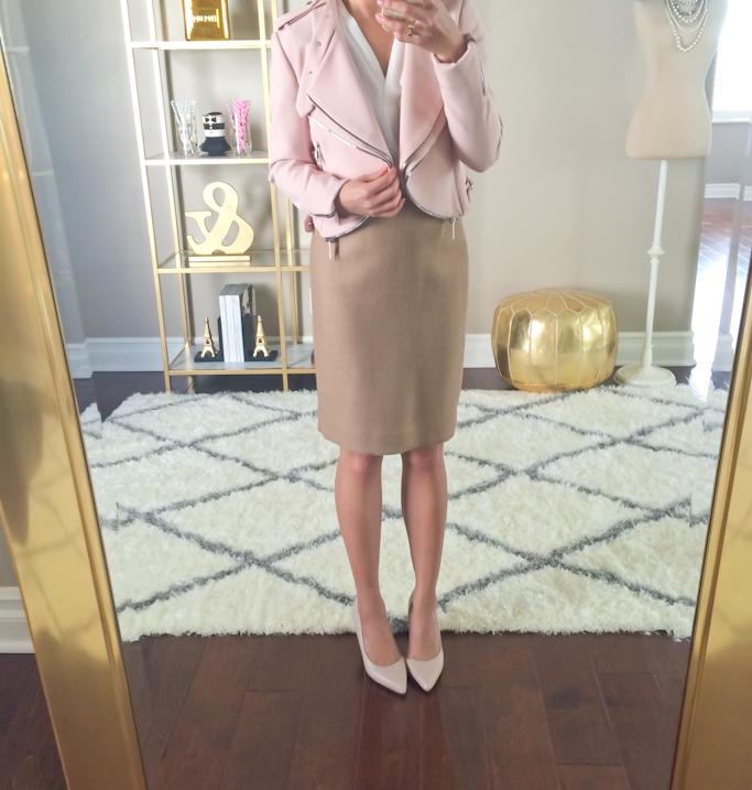 Zara cropped zip pink jacket Jcrew no. 2 double serge wool pencil skirt Halogen blush pink leather pumps