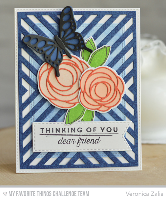 Thinking of You Friend Card by Veronica Zalis featuring the Lisa Johnson Designs Spring Tulips stamp set, Flutter of Butterflies - Lace and Solid and Four Way Chevron Cover-Up Die-namics, and the Lisa Johnson Designs Scribble Roses and Scribble Roses Overlay Die-namics #mftstamps