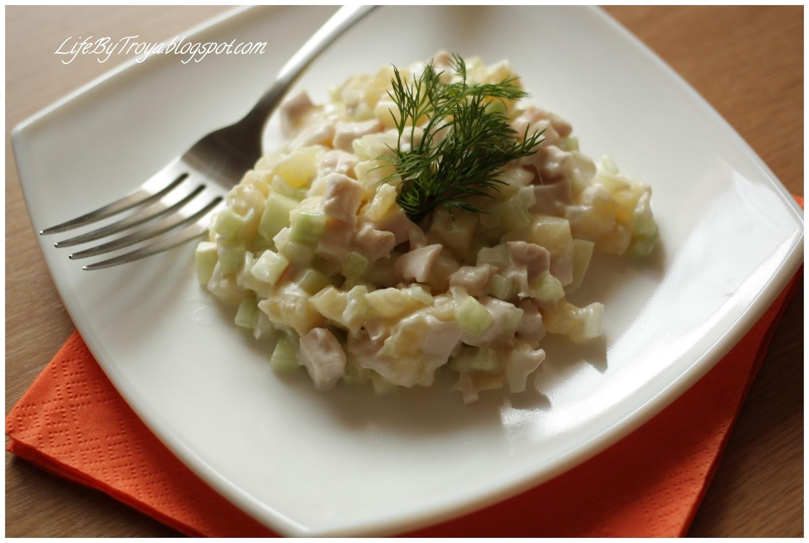 Салат с копченой курицей пошаговый рецепт в