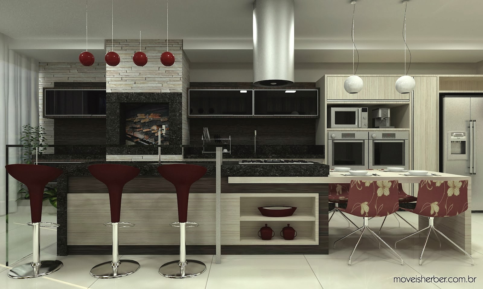 Minha Casa Clean: Cozinhas Gourmet com Churrasqueiras Integradas #604038 1600 960