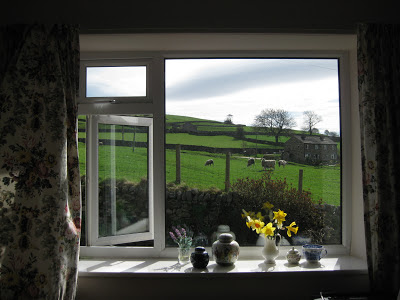 Cozy cottage window view of the Yorkshire Dales