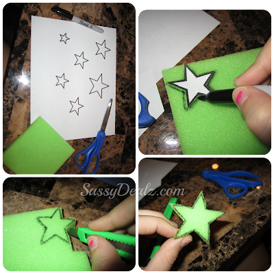 cutting out a star sponge