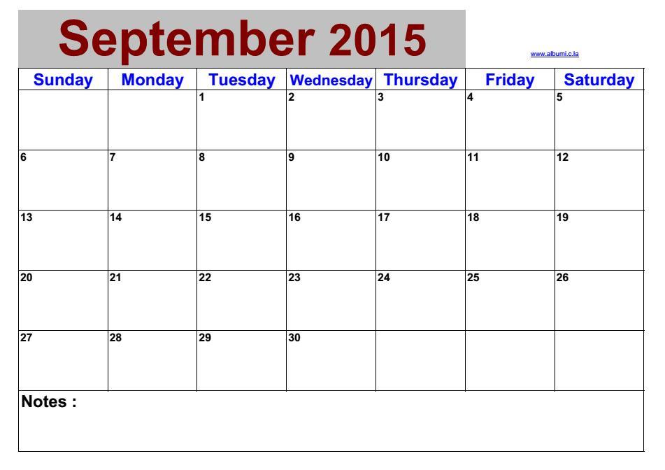 blank calendar september 2015