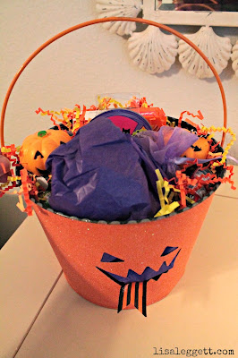 Trick or Treat pail, stuffed with goodies, ready to go!