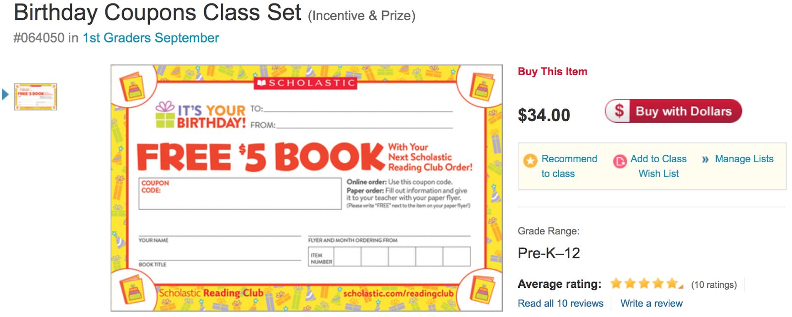 Shopping Tips for Scholastic Store: 1. Teachers and administrators ordering in bulk can score a bonus discount by submitting the designated form by mail, fax or email. 2. The Scholastic Reading Club gives teachers the opportunity to save on classroom essentials by collecting points for purchases. The program is entirely free to join. 3.