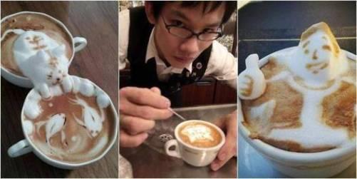 Kopi latte unik hidup dan bergerak kreasi Yamamoto