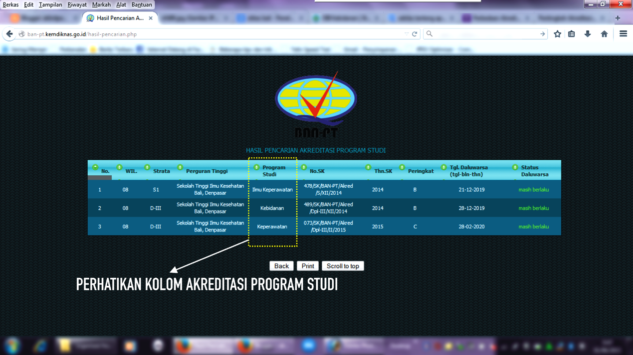 Contoh Akreditasi Program Studi