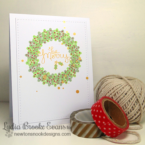 Beautiful Holiday Wreath Card by Lydia for Newton's Nook Designs | Falling into Autumn Stamp Set