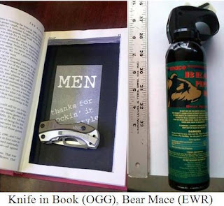 Knife in Book and Bear mace. 