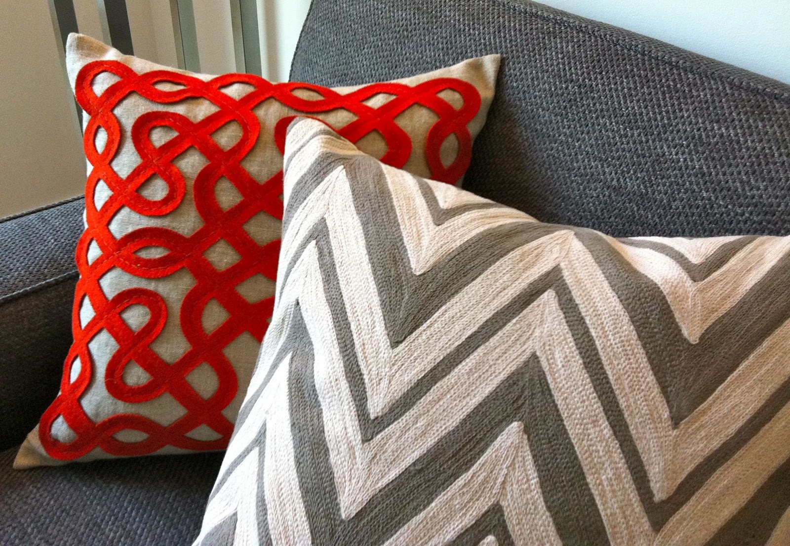 ella modern come on in take a seat - dwell studio new chevron ash pillow dwell studio labyrinth persimmonpillow