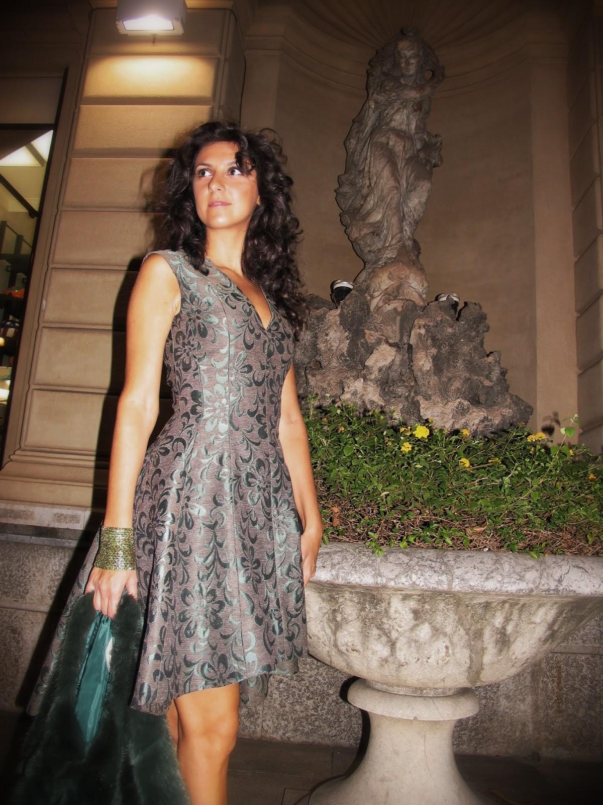dress, abito, damascato, verde, green, pelliccia