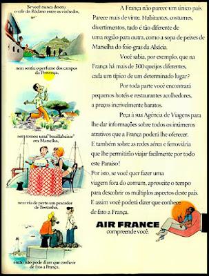 Air France, 1974. década de 70. os anos 70; propaganda na década de 70; Brazil in the 70s, história anos 70; Oswaldo Hernandez;