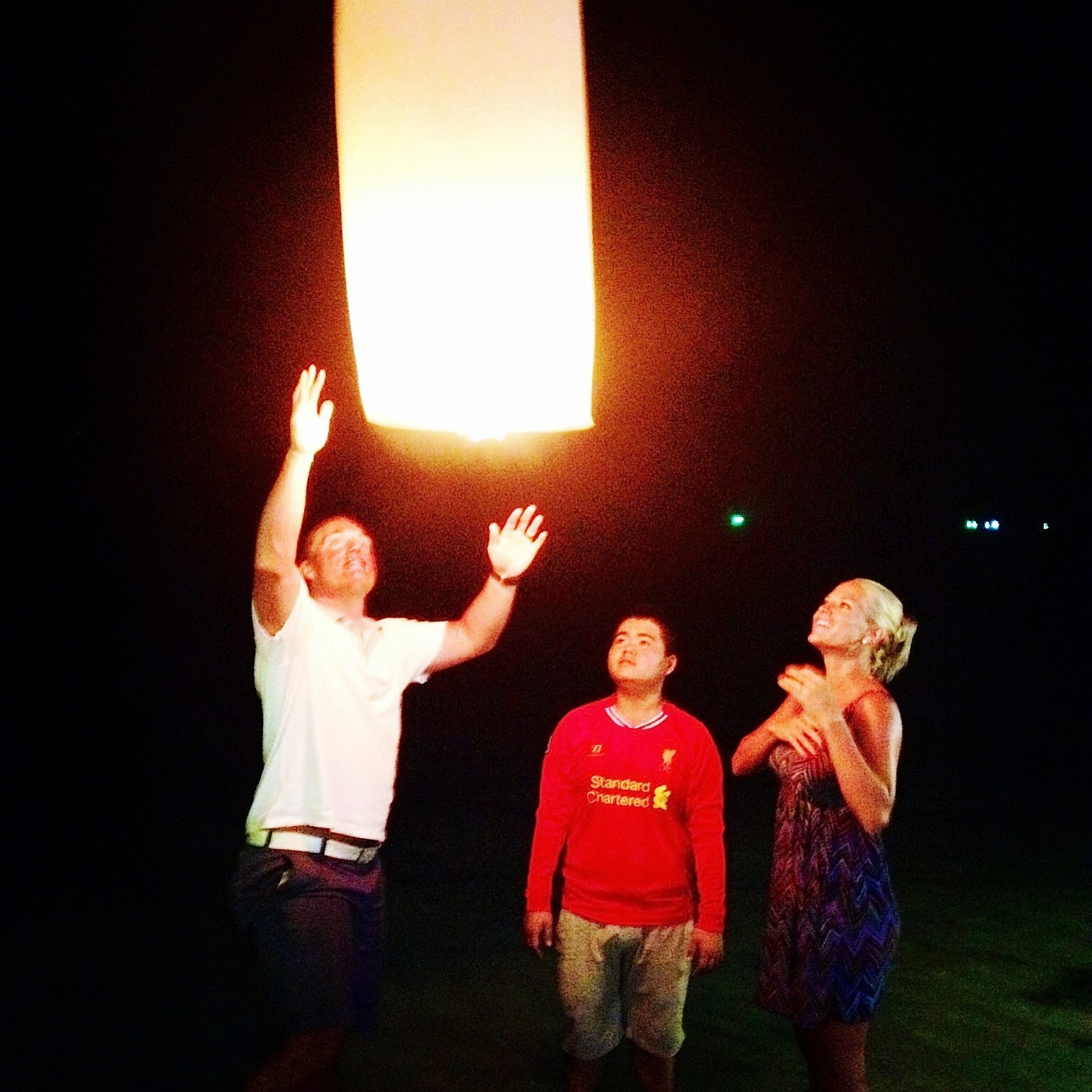 launching our first sky lantern in Koh Samui