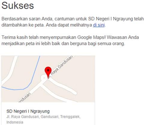 Notifikasi Email Google Maps berhasil
